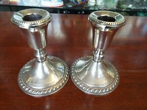 Vintage Antique Pair Duchin Sterling Silver Candlesticks Candle Holders Nr