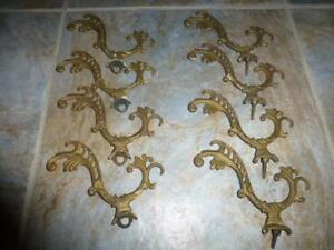 Vtg Architectural Victorian Cast Iron Shelf Bracket Curtain Hall Tree Coat Hook