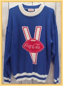 🔴 1986 Vintage Men's Coca-Cola Blue Varsity Football Knit Sweater Size Medium