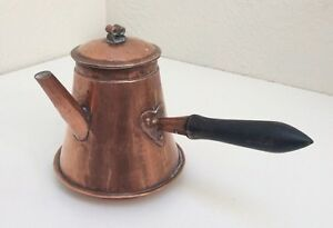 Antique French Hammered Copper Chocolate Coffee Pot Signed Mora Dovetail Seams