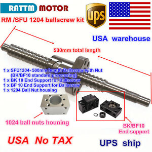 us Stock rm sfu1204 500mm Ballscrew With Nut bk bf10 nut Housing For Cnc Router