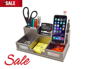 Wood Desk Organizer With Smart Phone Holder Classic Silver S9525