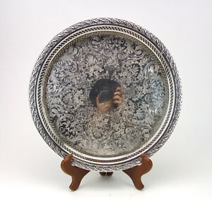 Wm Rogers Spring Flower Round Gallery Tray Platter Silverplate