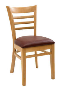 New Gladiator Wooden Natural Ladder Back Restaurant Chair With Wine Vinyl Seat