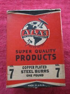 1940 Atlas 7 Copper Plated Rivet Burrs 1 2 Diameter 3 16 Hole 1lb Box 420 Burrs