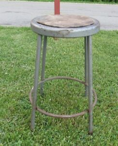 Vintage Krueger Industrial Metal Stool Adjustable 25 Tall Workshop Seat