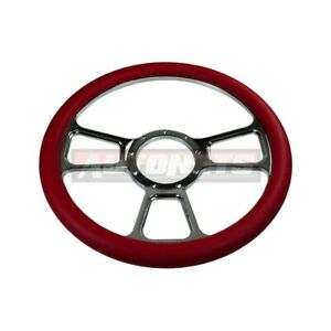 14 Red Leather T Chevy Gm Billet Aluminum Steering Wheel 9 Bolts Street Hot Rod