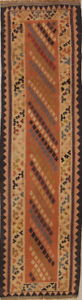 Vintage Vegetable Dye Flat Weave Runner Kilim Qashqai Persian Oriental Rug 2x8ft