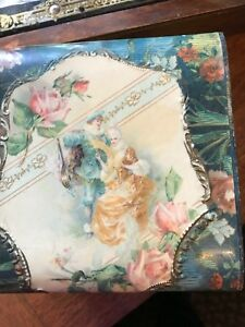 Antique Celluloid Collar Box Victorian Couple With Pink Roses 9997