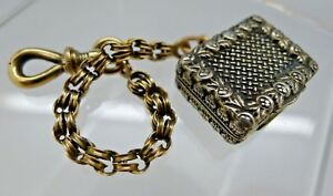 English Birmingham Sterling Silver 9ct Gold Vinaigrette J Wilmore 1832 Chain