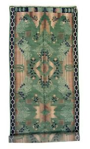 Antique 6x18 Green Art Deco European Hand Knotted Gallery Runner Rug 6 X 18 1