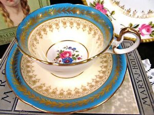 Aynsley Tea Cup And Saucer Baby Blue Floral Rose Pattern Teacup Low Doris