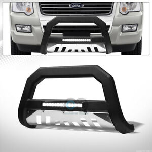 Fits 06 10 Ford Explorer Matte Blk Ss Skid Avt Aluminum Led Light Bull Bar Guard