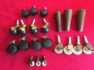 Vintage Lot Of Wheels Casters Furniture Rollers Legs 21 Pieces