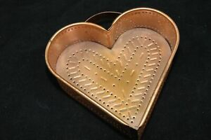 Heart Cheese Mold Punched Copper Wall Hanging Container