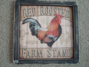 Primitive Country Print Red Rooster Farm Stand Black Frame 9 1 2 X 9 1 2