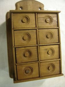 Antique 8 Drawer Chestnut Wall Spice Cabinet 448