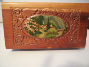Antique Carved Wooden Dovetailed Footed Trinket Box Mirror