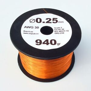 0 25 Mm 30 Awg Gauge 940 Gr 2050 M 2 Lb Enameled Magnet Copper Wire Coil