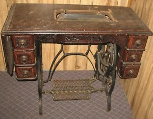 Vtg Antique Eldredge Cast Iron Treadle Base Sewing Table No Machine Industrial