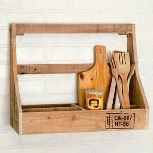 Country New Large Wood Crate Wall Rack W Divided Bins