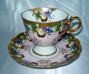 Royal Sealy China Pear Grape Fruit Pattern Gold Tea Cup Saucer Set Japan