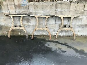 3 Rare Vintage Industrial Cast Iron Wishbone Legs Factory Legs Repurposed Legs