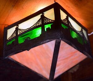 Antique Brooklyn Bridge Commemorative Hanging Stained Glass Lamp