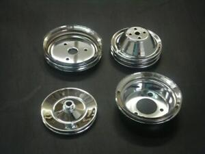 Chrome Small Block Chevy 2 3 1 Groove Set Pulley Swp Crank Ps Water Pump Sbc New
