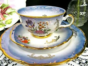 Bavaria Germany Tea Cup And Saucer Baby Blue Floral Luster Pattern Teacup Trio