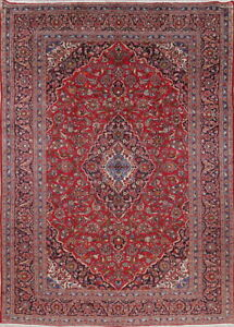 Vintage Traditional Floral Persian Oriental Hand Knotted 9x13 Red Wool Area Rug
