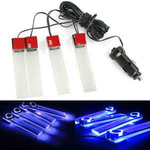 Blue 4 Led Lamp Lights Car Charge Interior Accessories Floor Decorative Lamp 12v