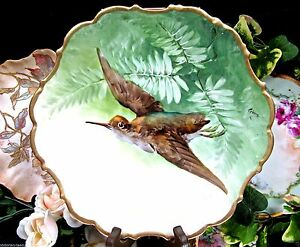 Limoges France Bird In Flight Plate Charger Handpainted Artist Signed