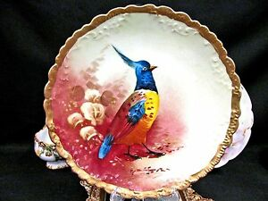 Limoges France Wild Bird Plate Charger Painted And Thick Gold Bands