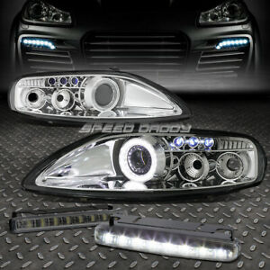 Chrome Halo Projector Headlamps 8 Led Grill Drl Lamps For 92 00 Z30 Sc300 sc400