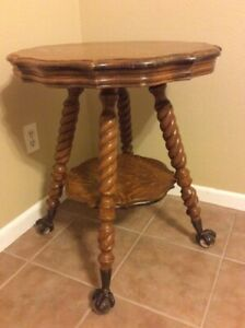 Antique Barley Twist 2 Tier Round Table With Claw Foot Clear Ball Legs