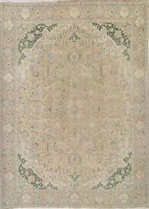 Vintage Retro Muted Beige Green Persian Geometric Hand Made 10x13 Distressed Rug