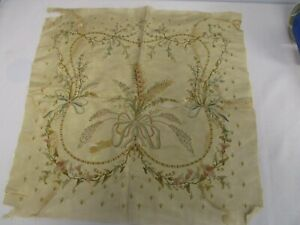 Antique Embroidered Silk Fabric 18 Square W Bouquet Of Fern Flowers