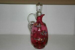 Antique Victorian Hand Painted Cranberry Glass Cruet Decanter W Clear Stopper