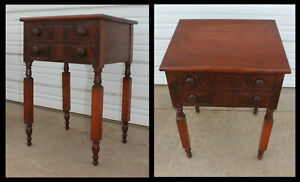 1860 Victorian Burled Walnut 2 Drawer Sewing Work End Table Night Stand Antique
