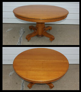 Antique Solid Quartersawn Oak 54 Round Table Dining Kitchen Cabin Beveled Edge