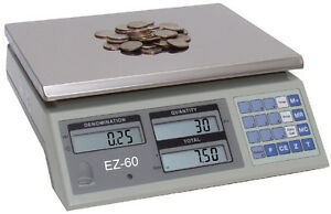 Coin Counting Scale Fast 1 Button Count 60 Lb Capacity High Resolution Scale Lcd