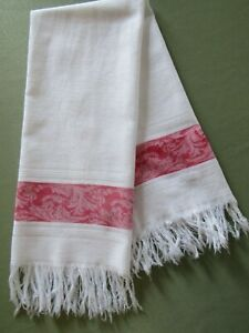 Antique Red White Linen Damask Guest Or Fingertip Show Towel Fringed 20x36