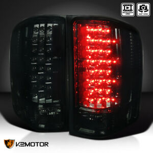 2007 2014 Chevy Silverado 1500 2500 3500 Pickup Led Tail Brake Lights Smoked Set