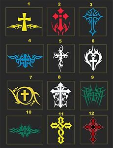 Tribal Crosses Reflective Motorcycle Helmet Decal 2 For 1 Pick Size Color