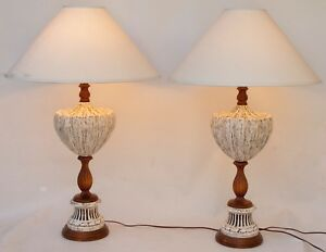 Pair Of 2 Large Vintage Mid Century Modern Ceramic And Wood Table Lamps Retro