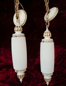 Vtg Pair Of Mid Century Modern Pendant Ribbed Milk Glass Ceiling Light Fixtures