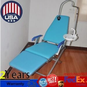 Dental Portable Folding Chair Unit Water Supply System Plastic Spittoon Led Lamp