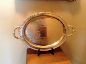 Rogers Bros Vintage Silverplate 17 X 13 1 4 Serving Butlers Handled Tray