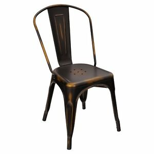 New Viktor Steel Restaurant Chair With Distressed Black Finish